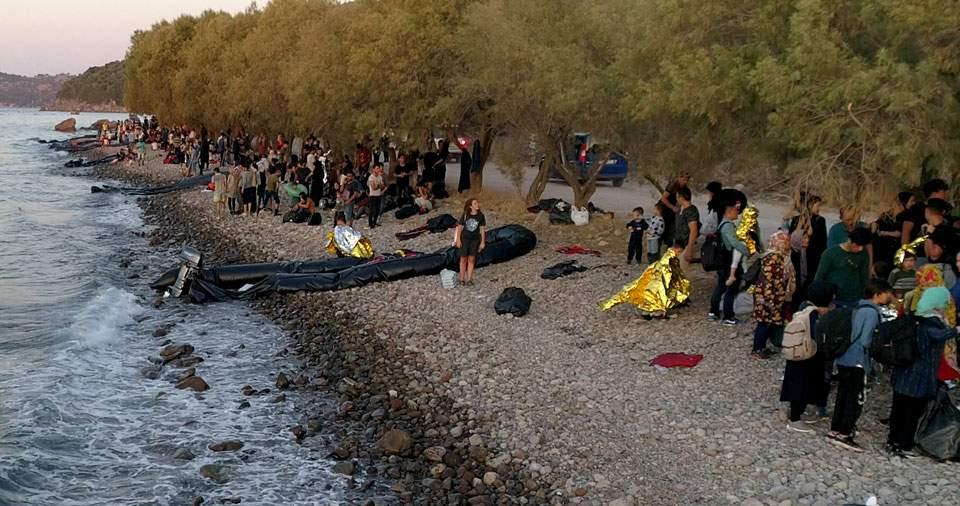 Высадка мигрантов на Лесбосе
