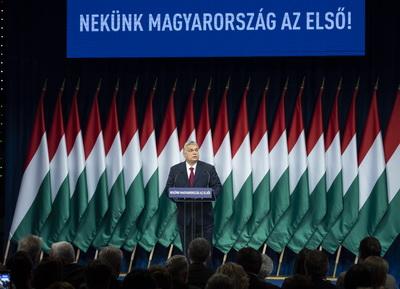 Напис на баннері та на трибуні: Для нас Угорщина понад усе