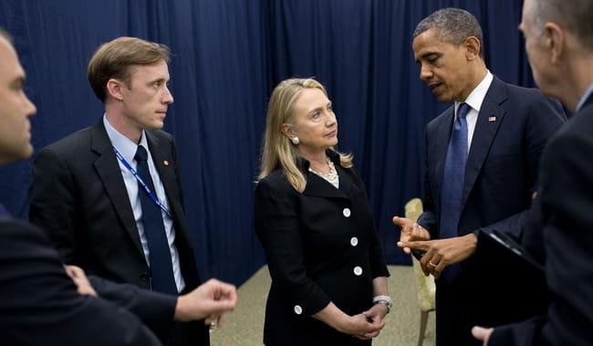 Джейк Салліван з президентом Обамою та держсекретарем Клінтону 2012 році